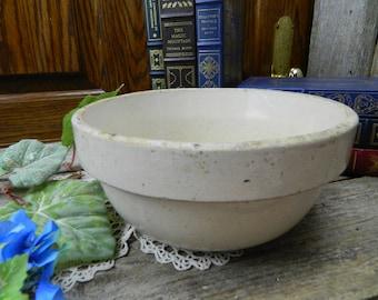 Antique 1800's Primitive Stoneware Pottery Mixing Bowl - Dough Bowl