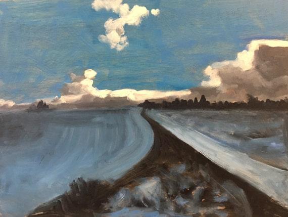 "Original Oil Painting: Dark Clouds, Blue Fields, 12"" x 16"""