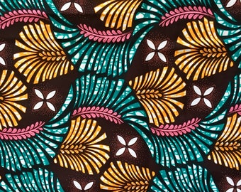 African Print Fabric/ Ankara - Teal, Pink, Orange 'Queen Palm' Design, YARD or WHOLESALE
