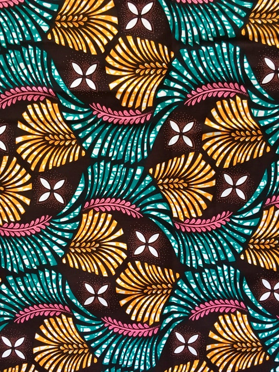 African Print Fabric Ankara Teal Pink Orange Queen