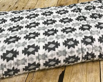 Gray Aztec Muslin Gauze Fabric - Swaddle Fabric BTY