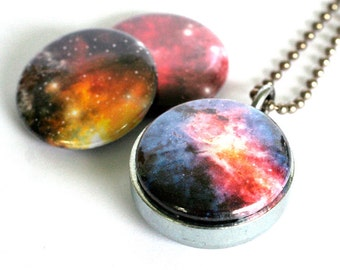 Nebula Jewelry, Nebula Locket Necklace, Galaxy Necklace, Celestial, Universe, 3 in 1, Holds a Picture, Long Chain, Minimalist Necklace