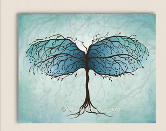 Blue Green Abstract Tree Print, Watercolor Dragonfly Art 8 X10 Print, Natures Beauty Home Decor, Illustration (183)