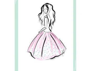 """Pink Skirt 11"""" X 14"""" Art Print"""