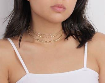 Gold Multi Strand Layered Choker - Statement Choker - Chain Choker Necklace