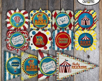 Carnival Baby Shower Decorations | Circus Baby Shower Decorations | Vintage Carnival Circus | Toppers, Banner, Party Favor Tags | Printable