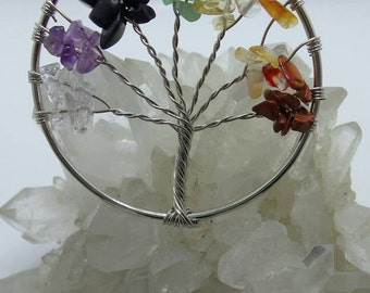 Chakra Tree Of Life Wire Wrapped Pendant.