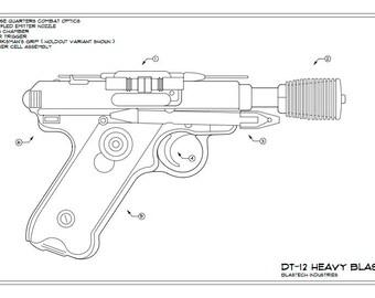 Destiny: Mida Multi-Tool Schematic Drawing