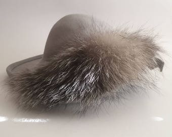 Vintage B Michael Gray Wool Felt Hat with Fur Accent