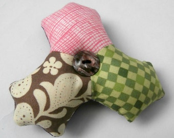 Green, Pink and Brown, Handmade Patchwork Hexie Cluster Pincushion