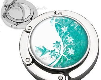 Sweet Nector Hummingbirds and Abstract Flowers in Teal Blue Purse Hook  Bag Hanger With Lipstick Compact Mirror