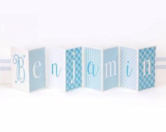 Personalised Boy's Name Banner Card; Baby Boy Keepsake Card; New Baby Concertina Card; Blue Baby Card; CC023