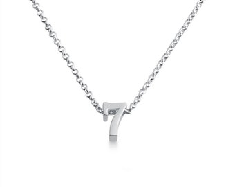 Number Seven ( 7 ) Symbol Serif Font Charm Pendant Necklace #925 Sterling Silver #Azaggi N0597S_7
