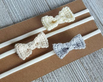 Mini Bow Headband - Crochet Bow - Baby Accessory - 1.5 Inch Bow - Bow Headband - Crochet Bow Headband - Baby Girl Hair Accessories