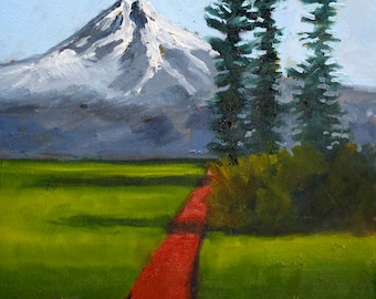 Mountain, Landscape Painting, Original Oil, 9x12, Canvas, Blue Green, Washington State, Western, Trail, Wall Decor, Small
