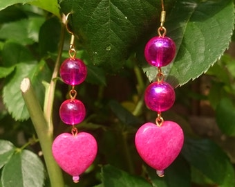 Hot Pink Dangly Heart Earrings - faceted semi precious fuchsia hearts and iridescent magenta glass beads - romantic Valentines Day gift