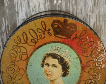 RESERVED xox     antique candy tin  Queen Elizabeth with in all of her glorious regalia made england candy tin antique candy box SHABBY CHIC