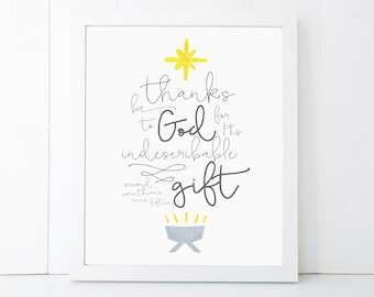 God's Gift Scripture Christmas Printable Wall Art 8x10, 5x7, 11x14, Bible Verse Christmas Print, Christmas Decorations
