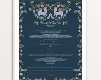 Carmel modern ketubah - personalized Ketubah - love wedding vows - Whimsical ketubah - Jewish wedding