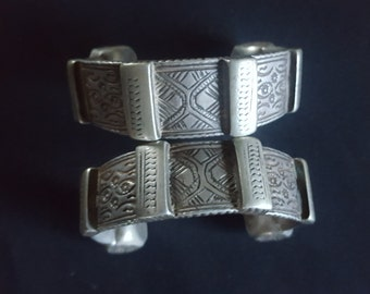 Morocco Berber ethnic Pair of Ankle Bracelets former Khalkhal silver