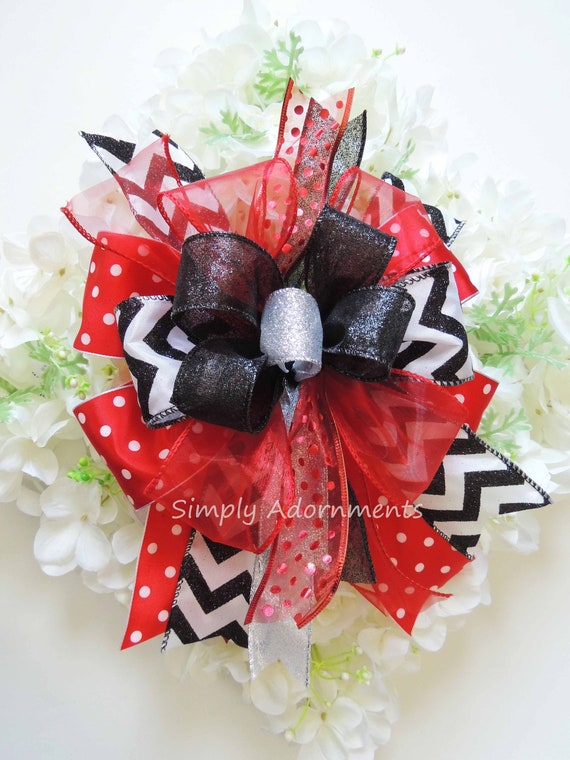 Red Black White Wreath Bow Birthday Party Decor Red Black White Graduation Party Decor Red Black Door Wreath Bow Chevron Polka dots Gift Bow