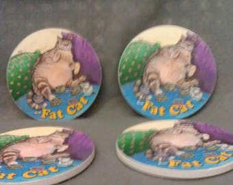 Fat Cat Coasters Set of 4