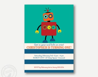 ROBOT Birthday Party Invitation, Printable, DIY, Boy Birthday, Robot Party, 1st Birthday, 1086