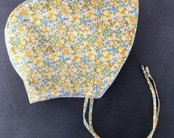 Spring Flowers Baby Bonnet - Infant Sun Hat - Yellow and Blue Sun Bonnet - Toddler Sun Bonnet - Vintage style baby gift