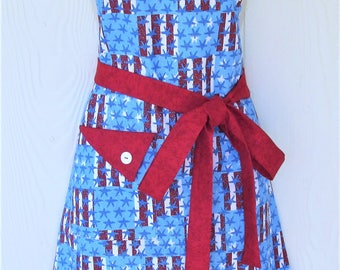 American Flag Apron, Red White and Blue, Patriotic Apron, Stars and Stripes, Vintage Style Full Apron, KitschNStyle