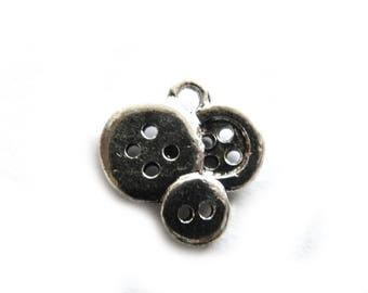 10 Silver Button Charms