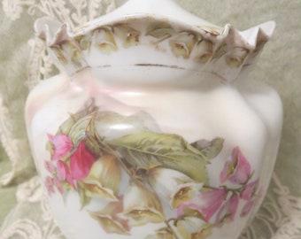 Antique Porcelain Biscuit Barrel with Foxglove Flowers, Foxglove Transferware, Antique Biscuit Jar, Victorian Porcelain Cookie Jar, Foxglove