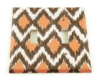 Light Switch Cover Wall Decor  Double Switchplate  Single Light Switch Plate in Ikat Coral and Gray (116D)