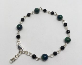 Azurite Bracelet, Gemstone Silver Bracelet, Black Onyx Bracelet, Blue and Green Bracelet, Gift for Her, 6 mm Azurite beads