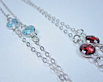 """La Scala Sterling Silver Necklace with Gemstones 28"""" length 0463"""