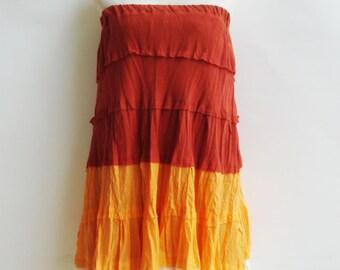 S2, Wavy Summer Spring Sexy Orange Cotton Skirt, orange skirt