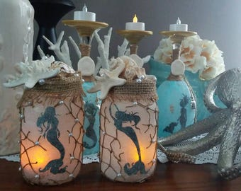 Mermaid Lantern, Mermaid Nightlight, Mermaid Home Decor,hand Painted Mermaid  Glass Jars Real