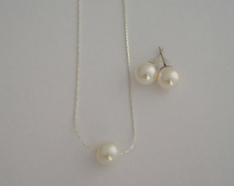 Set of 8 Single Floating Pearl Necklace & Stud Earrings - Bridal, Bridesmaids, Gift for her