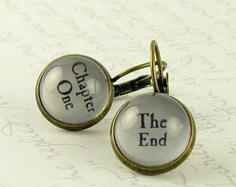 Perfect Gift For Book Lover - Book Earrings - Chapter One The End - Literary Jewelry - Gifts For Writers - Perfect Gift For Reader