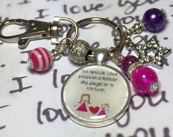 "Mother Daughter keyring, Mother Daughter gift, Daughter gift ""The special love between a Mother and Daughter is forever"""