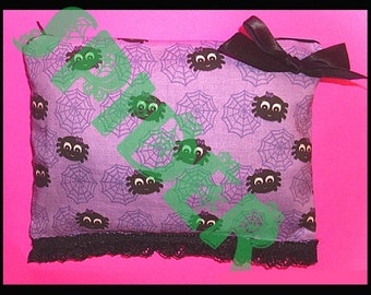 Itsy Bitsy Spider Lavender Make up bag Pencil Zipper Pouch Cosmetic Bag Cotton Spiders Spider Web