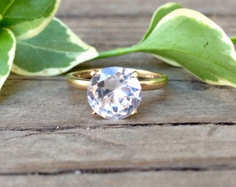 White Sapphire Ring in 14k Yellow Gold, Engagement Ring, Wedding Ring, April Birthstone, Proposal Ring