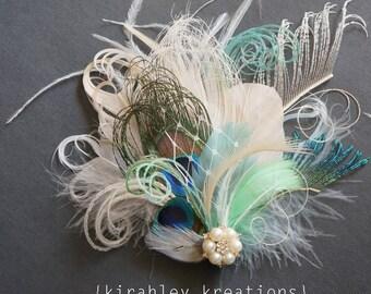 SHIP READY Ivory Mint Green Aqua Sword Peacock Feather Hair Clip Pearl Rhinestone Bride Bridal KAY Wedding Fascinator Headpiece Great Gatsby