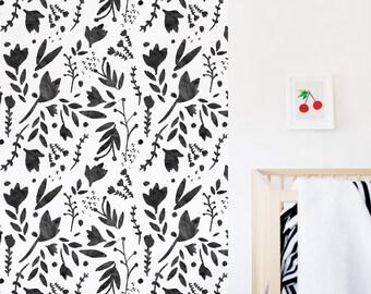 Floral Wallpaper, Black & White Wallpaper, Watercolor Wallpaper, Monochrome, Wall sticker, Self-Adhesive Wallpaper, Décor. Floral Wallpaper