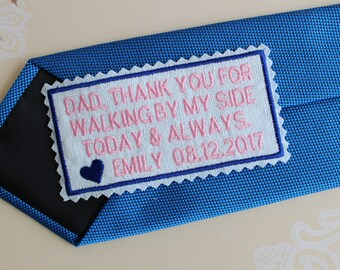 Father of the Bride Gift, Slim Tie patch personalized, personalised, wedding favor,, tie label ,Suit label, Embroidered, iron on by request