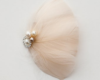 Ivory, champagne and rhinestone feather fascinator, bridal, weddings, bridesmaid, bride, hair accessory, hair piece, head piece, sweet 16