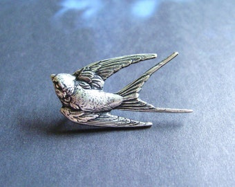 Silver Swallow - Antiqued Silver Plated Bird Brooch, Lapel Pin or Tie Pin, Tie Tack with Gift Box