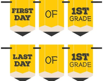 1st Grade - First and Last Day of School Bunting Banner - 1st Grade - Back To School - First & Last Day of School Bunting Banner Photo Prop