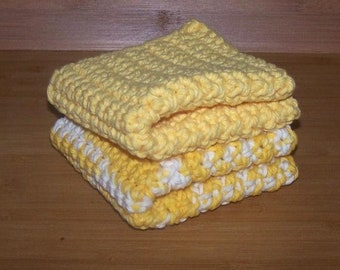 100% Cotton Crochet, Handmade Wash Cloth, Dish Rag Pair, Yellow and Daisy Blend