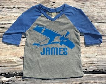 First Birthday airplane shirt, Raglan airplane shirt, first birthday shirt, personalized birthday shirt