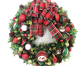 Christmas Wreath  - Red, Green and Lime Green Christmas Wreath - Artificial Pine Wreath  - Ready to Ship Wreath